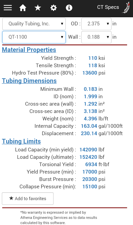 coil tubing specs